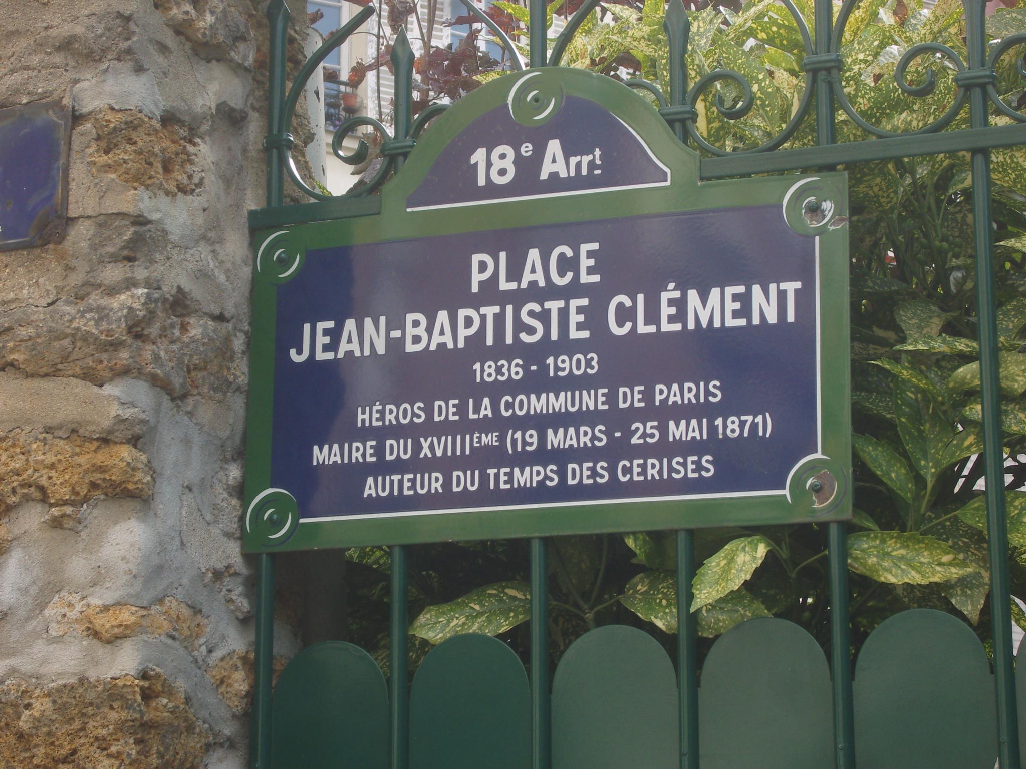 Les musiques préférées d'Indiana - Page 6 Paris_18e_-_Place_Jean-Baptiste-Cl%C3%A9ment_-_plaque_de_rue