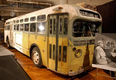 The Henry Ford Museum commemorates the 46th anniversary of U.S. civil rights legend Rosa Parks' arrest aboard a Montgomery, Alabama, bus in 1955 by unveiling the bus she was arrested on in a ceremony in Dearborn, Michigan, on 01 December 2001. The Henry Ford Museum recently acquired the bus. Mrs. Parks was arrested on 01 December 1955 after she refused to give up her seat to a white person. AFP PHOTO Jeff KOWALSKY