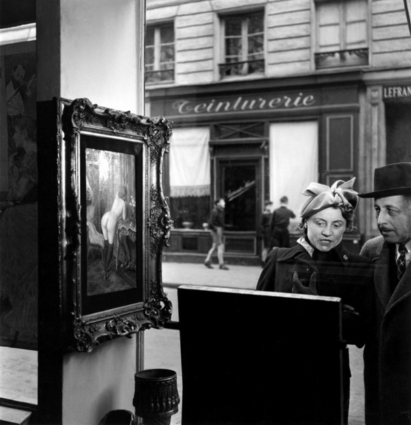 "Romi's window shop, rue de Seine, Paris 6th , painting by Wagner, 1948 La vitrine de Romi, ""le regard oblique"", Paris 6ime, rue de Seine, tableau de Wagner 19480000"