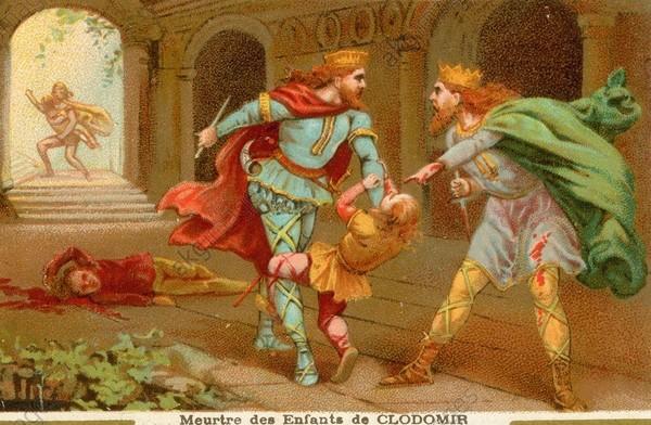 1FK-1174-E533-2 (898010) Childebert u.Chlothar töten Söhne... Childebert I., Frankenkönig aus dem Haus der Merowinger; um 495-558. / - 'Meutre des fils de Clodomir' (Childe- bert I. u. sein Bruder Chlothar I. er- morden nach dem Tod ihres Bruders Chlodomer dessen Söhne Theobald und Gun- ther, 533).- / Farblithographie, anoym, Frankreich, um 1890. Sammelbildchen der Firma 'Chocolaterie d'Aiguebelle'. Paris, Privatsammlung. F: ' Meutre des fils de Clodomir' Childebert Ier ; roi des Francs de la dynastie des Mérovingiens ; (511-558 roi de Paris) ; v. 495-558. - ' Meutre des fils de Clodomir' (Childebert Ier et son frère Clothaire Ier tuent, après la mort de leur frère Clodomir, ses fils Théobald (Thibault) et Gonthier (Gontran), 533). - Lithographie coul., anonyme, France, v. 1890. Vignette d'une série sur les rois de France. Paris, Collection particulière.
