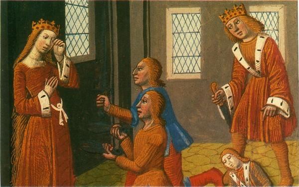 Assassinat de Thibaut et Gunthar. Chroniques de France, manuscrit du xve siècle. Bibliothèque nationale, Paris.